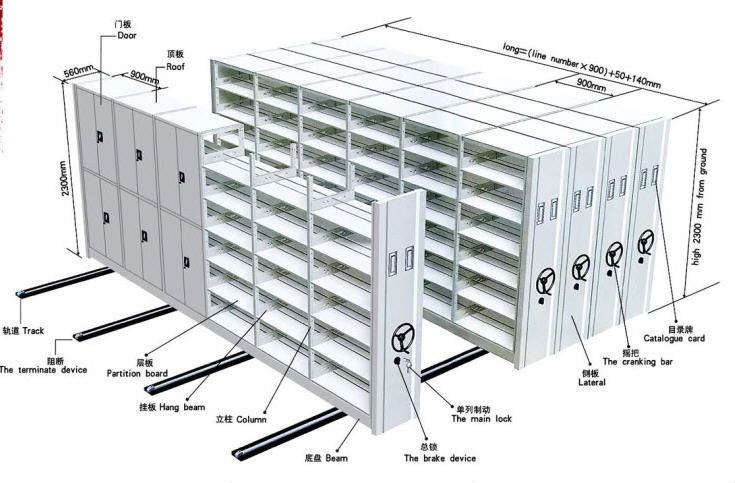 Mobile Shelving Component Drawing